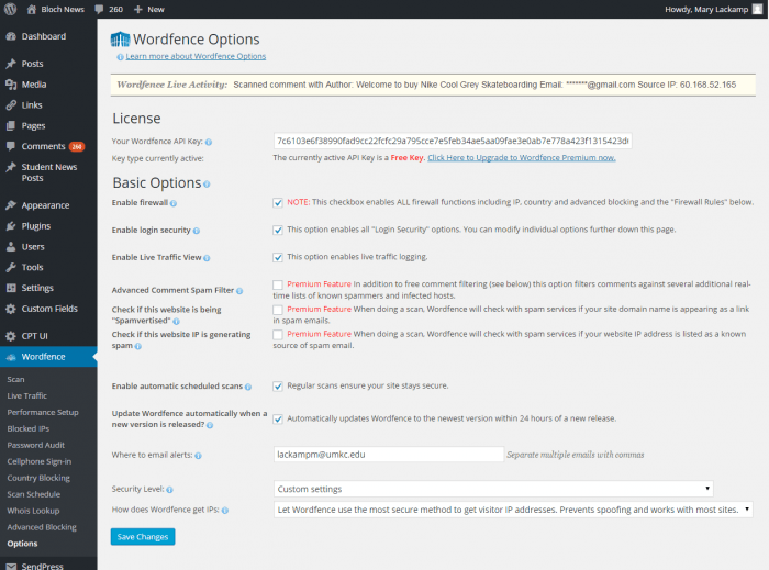 The Wordfence home page showing the plugin's basic options, along with a list of its other sections on the left.