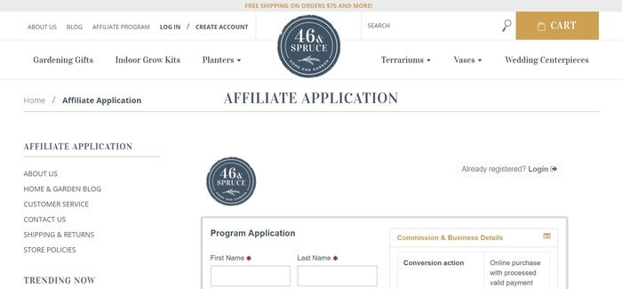 screenshot of the affiliate sign up page for 46 & Spruce