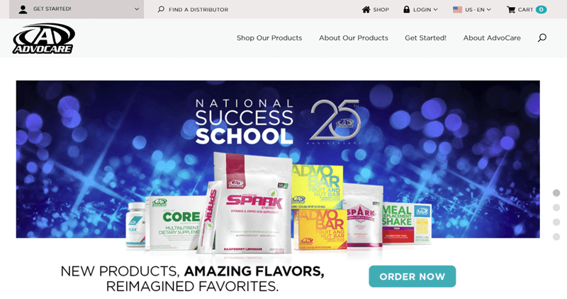 AdvoCare website screenshot showing a range of the products on a blue and sparkly background.