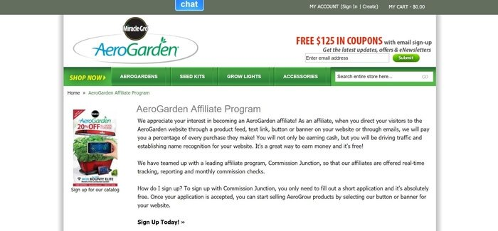 screenshot of the affiliate sign up page for AeroGarden