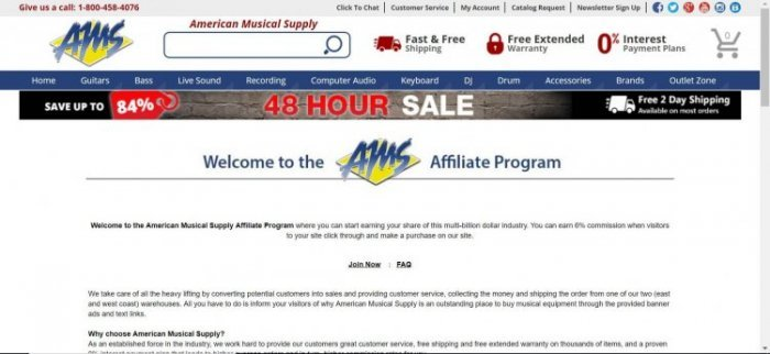 screenshot of the affiliate sign up page for American Music Supply
