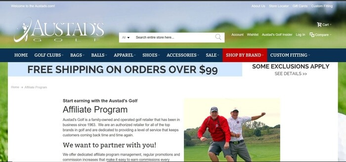 screenshot of the affiliate sign up page for Austads Golf
