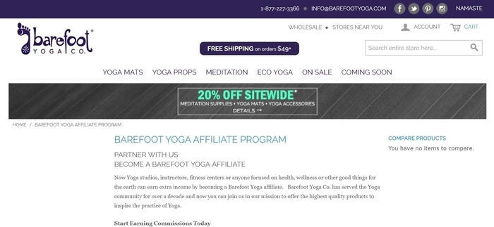 screenshot of the affiliate sign up page for Barefoot Yoga