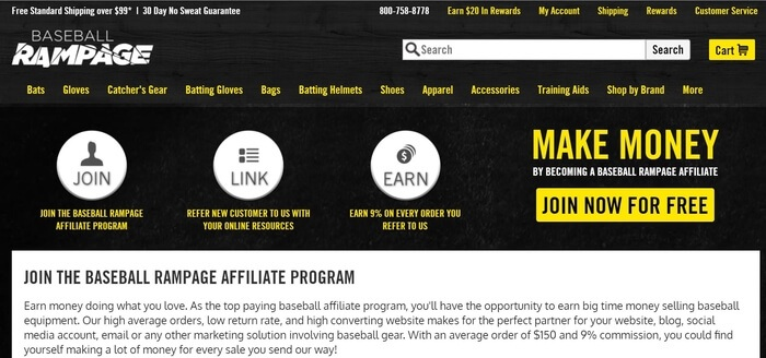 screenshot of the affiliate sign up page for Baseball Rampage