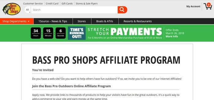 screenshot of the affiliate sign up page for Bass Pro Shops