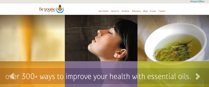 Be Young website screenshot, showing three images and the tagline 'over 300+ ways to improve your health with essential oils'.
