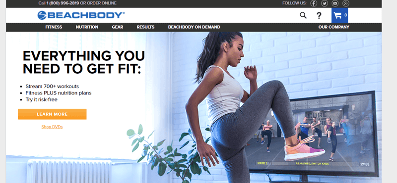 Beachbody website screenshot showing a woman exercising in front of the television.