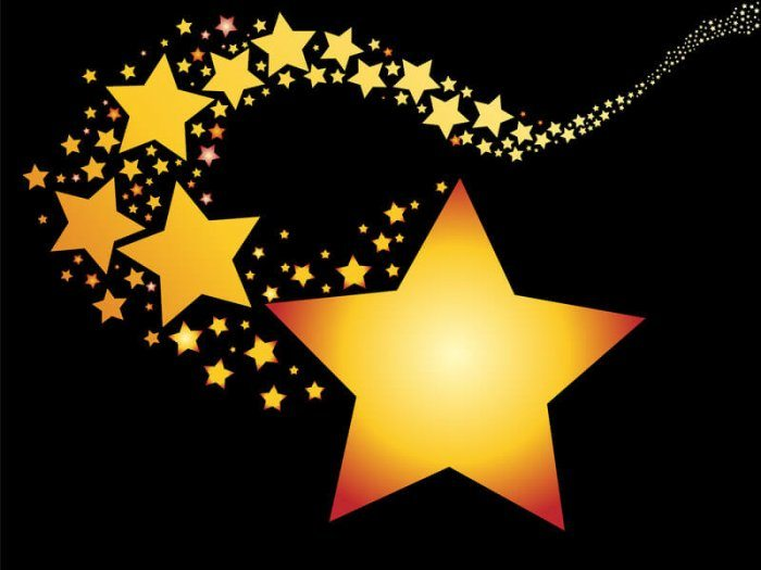 trail of cartoon 5-point stars representing The Best WordPress Plugins For Star Ratings
