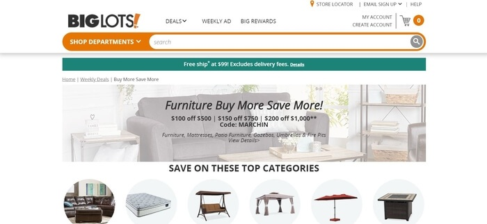 screenshot of the affiliate sign up page for Big Lots