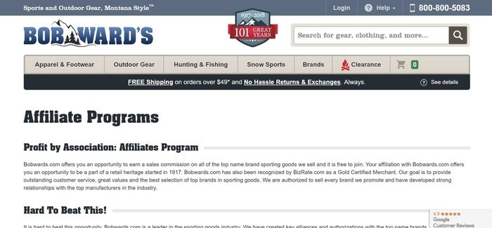 screenshot of the affiliate sign up page for Bob Ward's