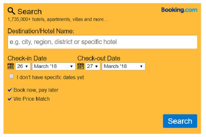 Booking.com Affiliate Search Box