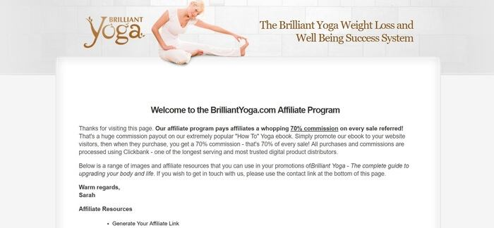 screenshot of the affiliate sign up page for Brilliant Yoga