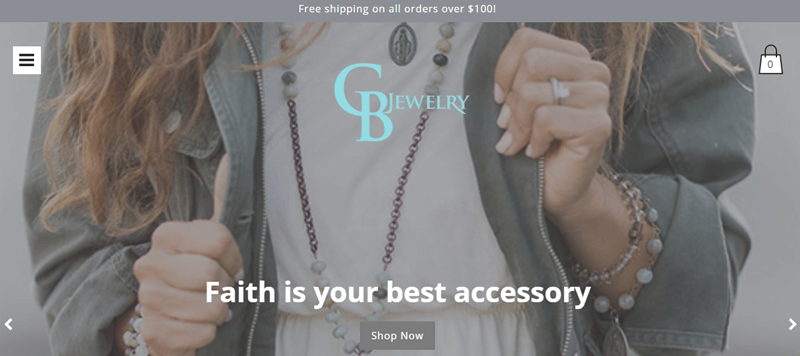 CB Jewelry website screenshot showing a young woman in a jacket with various pieces of jewelry from the company.