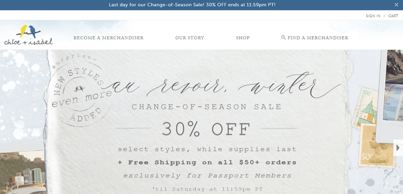 Chloe + Isabel website screenshot showing details about a change-of-season sale.