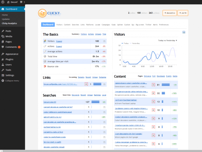 The main Clicky Dashboard showing the basic stats, along with the stats for the website's links, content, and searches.