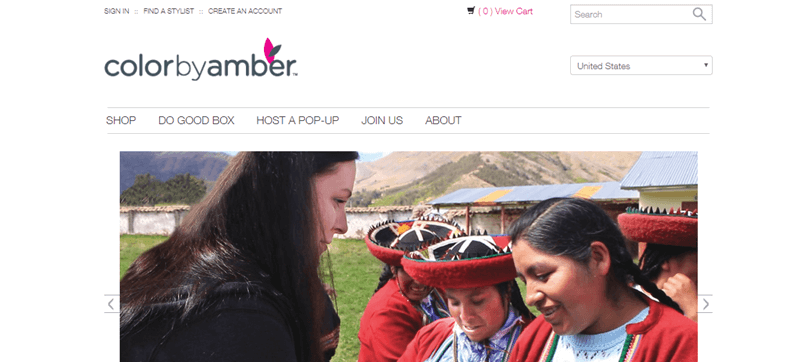Color by Amber website showing a woman interacting with people from another culture.