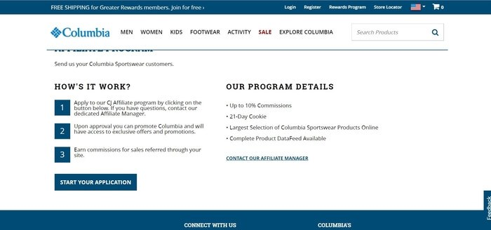 screenshot of the affiliate sign up page for Columbia Sportswear