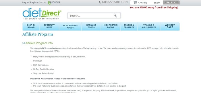 screenshot of the affiliate sign up page for Diet Direct