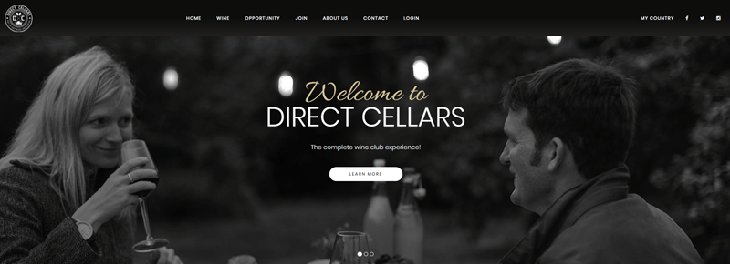 Direct Cellars website screenshot showing a gray image of a couple drinking wine.