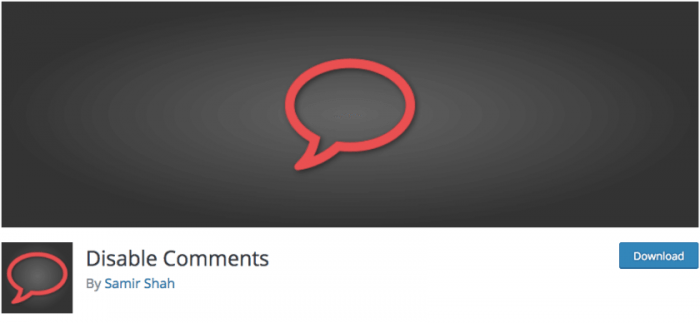 The Disable Comments logo and the plugin's download page.