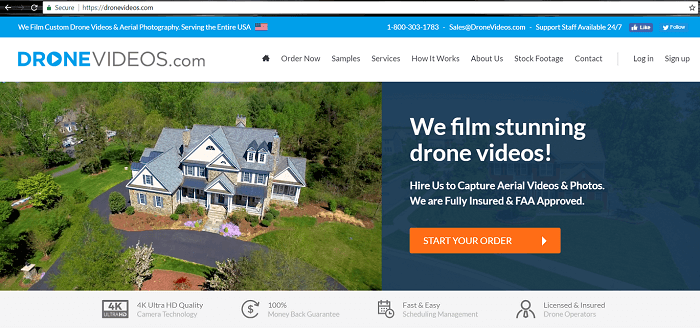 Screenshot of DroneVideos.com Home Page