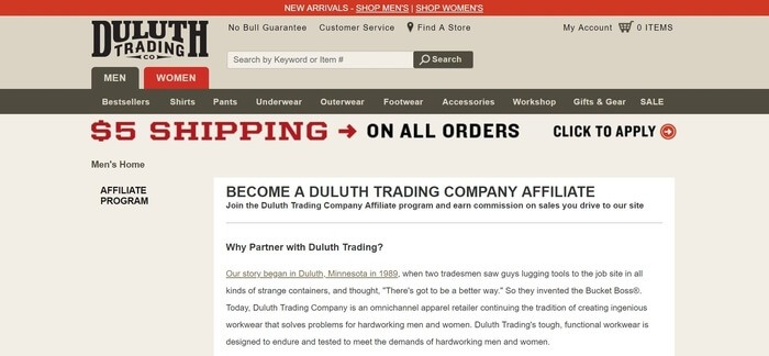 screenshot of the affiliate sign up page for Duluth Trading Company