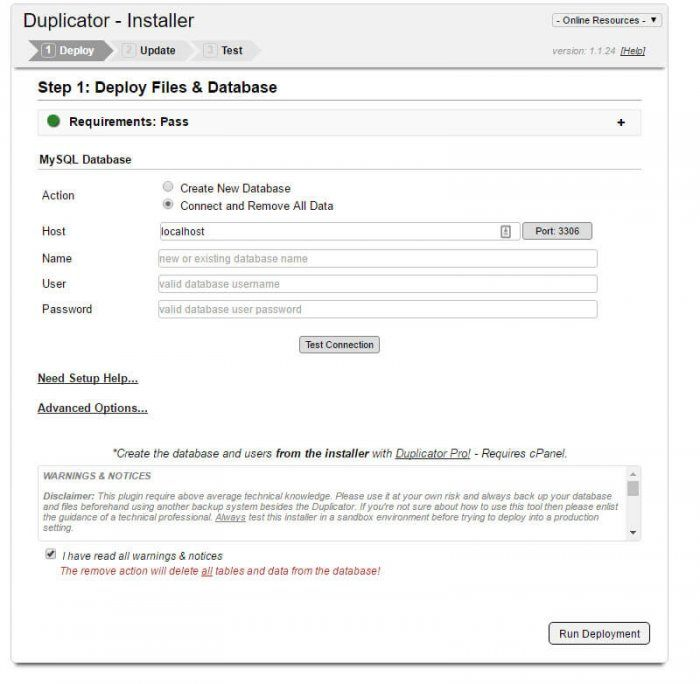 The SQL database deployment tab inside the Duplicator installer. It lets you choose the host location, name of the database file(s), username, password, along with some advanced options.