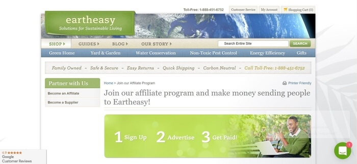 screenshot of the affiliate sign up page for Earth Easy