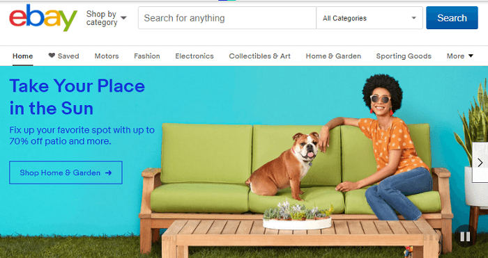 Screenshot Ebay Affiliate Home Page