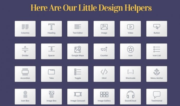 The Elementor design tools grid, showing elements such as columns, heading, images, video, buttons, etc., that you can use to create your landing page.
