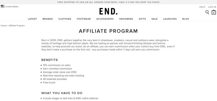 screenshot of the affiliate sign up page for End