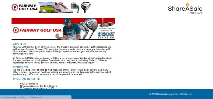 screenshot of the affiliate sign up page for Fairway Golf USA