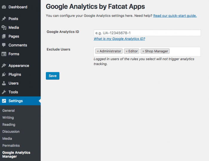 The Analytics Cat settings tab inside the plugin's dashboard.