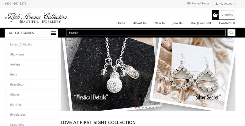 Fifth Avenue Collection website screenshot showcasing a necklace called 'Mystical Details' and a pair of earrings called 'Silver Secret'.