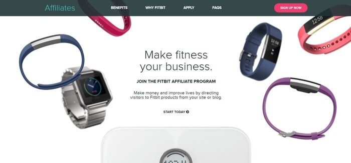 screenshot of the affiliate sign up page for Fitbit