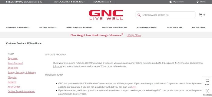 screenshot of the affiliate sign up page for GNC