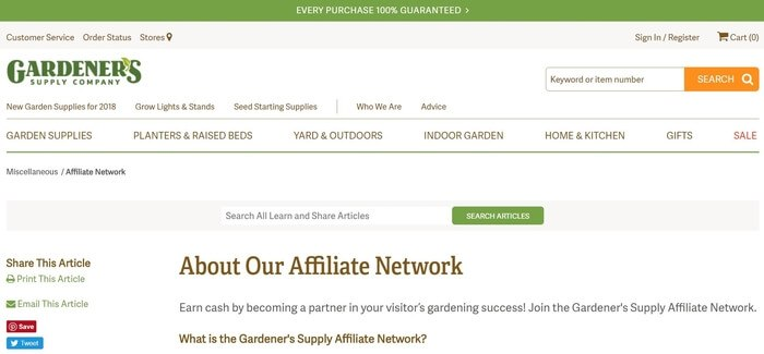 screenshot of the affiliate sign up page for Gardeners Supply Company