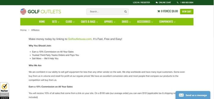 screenshot of the affiliate sign up page for Golf Outlets USA