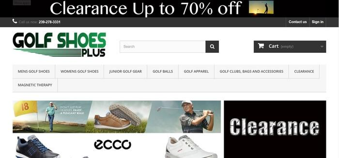 screenshot of the affiliate sign up page for Golf Shoes Plus