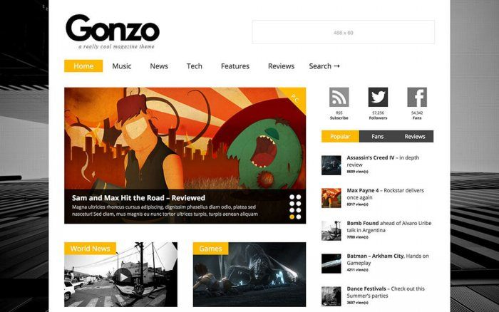 A Gonzo-generated online publication with thumbnails of the magazine's items displayed on the homepage. On the right side the magazine's most popular articles are listed, and above them are the social sharing buttons.