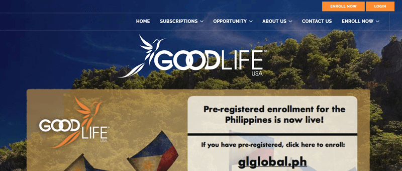 GoodLife USA website screenshot showing a background photo of trees and the sky, with details about pre-registered enrollment for the Philippines.
