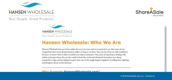 screenshot of the affiliate sign up page for Hansen Wholesale