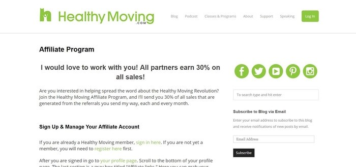 screenshot of the affiliate sign up page for Healthy Moving