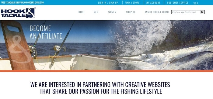 screenshot of the affiliate sign up page for Hook & Tackle