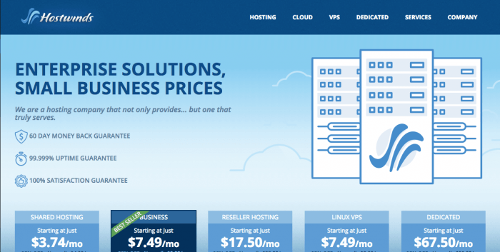 screenshot of the hostwinds homepage March 2017