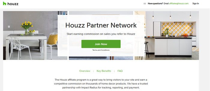 Houzz Partner Network website screenshot showing a pretty kitchen and dining room