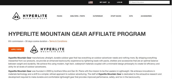 screenshot of the affiliate sign up page for Hyperlite Mountain Gear