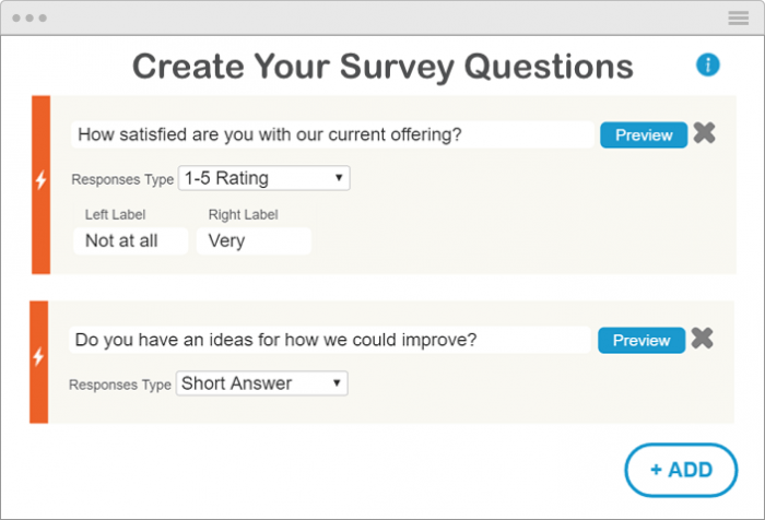 The IgniteFeedback survey builder showing fields for the question, type of response (here it is by a 1-5 rating and a short answer), labels, as well as a preview button for each question.