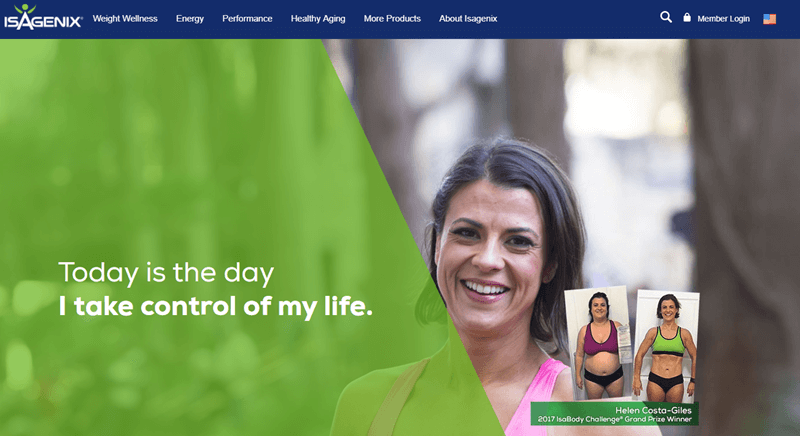 Isagenix website screenshot showing the various categories of products and a weight loss success story.