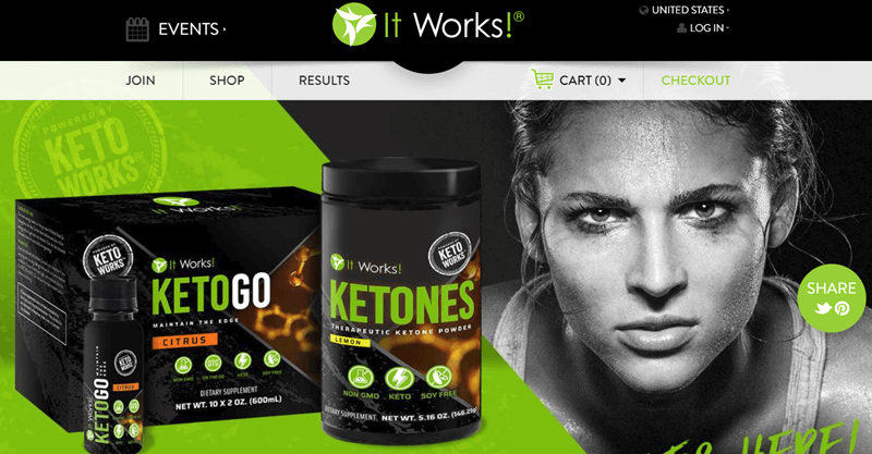 It Works! website screenshot showing two of the keto products from the company, along with a black and white image of a concentrating woman.